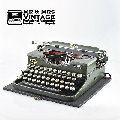 Mint Royal P Crackled Green Typewriter Glass top keys Portable Black red Ribbon