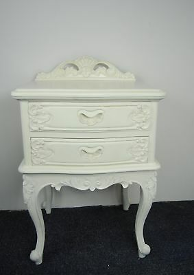 French Cream Carved Ornate 2 Drawer Bedside Table Solid Hardwood Lamp Table