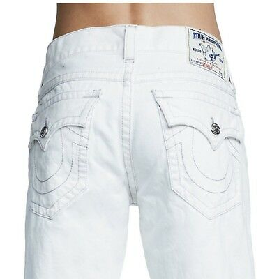 True Religion Men's Straight Ascot Grey Stitched Jeans in Optic White