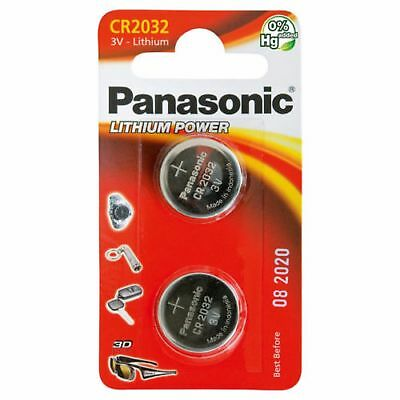 New 2 x Panasonic CR2032 3V Lithium Coin Cell Battery 2032