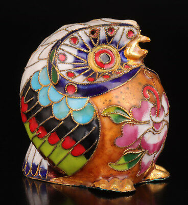 Cloisonne Statue Old Handmade Owl Craft Collection