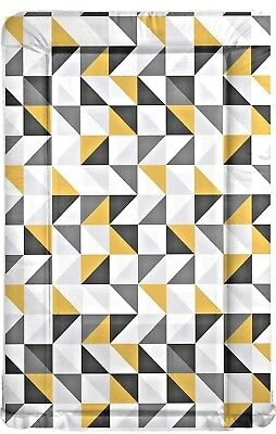BABY CHANGING MAT - Grey Lemon Geometric Pattern - Trendy UK Made Shower Gift