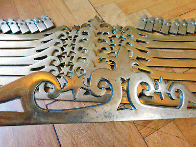 Antique Brass Stair Rods, Ornate Stair Roads,8 Antique Carpet Rods with clips