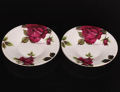 2 Porcelain Plate Saucer Western Style Painting Rose Handicraft