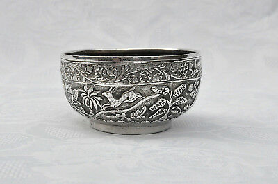 ANTIQUE COLONIAL / RAJ STERLING SILVER BOWL LUCKNOW c1890