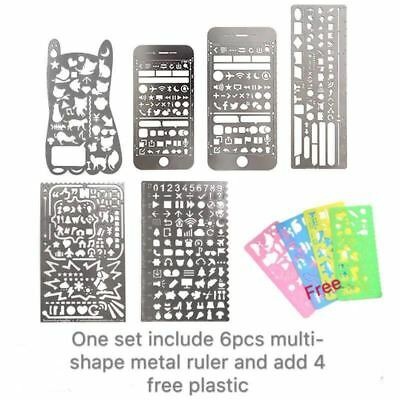 Multi-shape Stainless Steel Ruler Tool Hollow Drawing Measuring Template