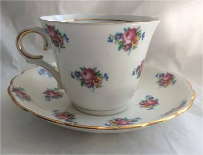 Colclough Bone China  Small flowers Bone China Tea Cup and Saucer Set