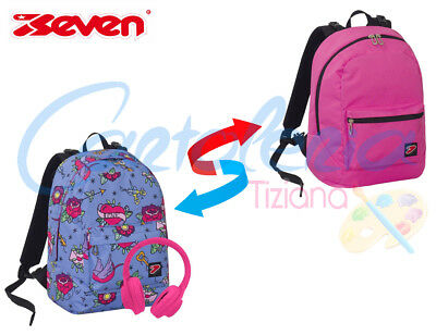 Zaino scuola Seven The Double project reversibile Swallow con cuffie in omaggio
