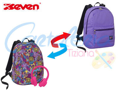 Zaino scuola Seven The Double project reversibile Skull Girl + cuffie in omaggio