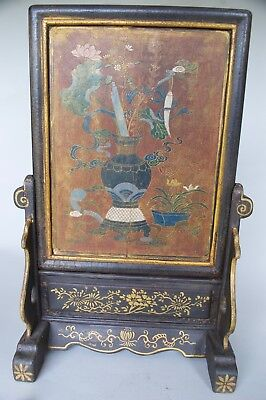 Chinese Large Scholar's Polychrome Gilt-Lacquered (lacquer) Table Screen, Qing