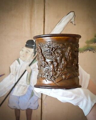 Chinese Carved Bamboo 'Scholar' Brushpot (bitong), Qing Dynasty