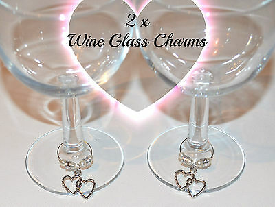 INFINITY LOVE HEARTS Wedding Wine Glass Charms Ivory Silver Beads ...