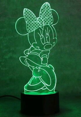 Minnie Mouse 3D illusion 7 Color LED Light Night Change Table Desk Lamp