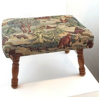 Vintage Wood & Fabric Foot Stool  with Needlepoint top Rustic Ottoman mother day