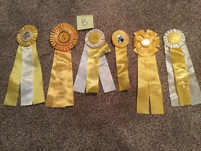 Lot of 6 Vintage Horse Show Ribbons Yellow-Birthday Party pack-DERBY Party-LOT B
