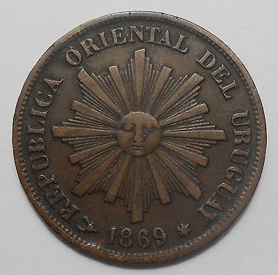 1869 H Uruguay Centesimo VF SCARCE Radiant Sun Face Republic Decimal Bronze Coin