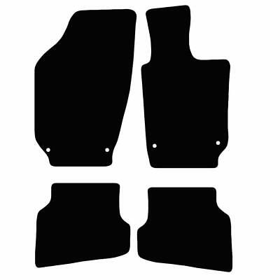Tailored Black Car Floor Mats Carpets 4pc Set with Clips for VW Polo