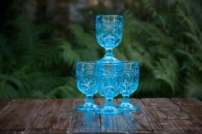 4 Vintage Mid-Century L E Smith Moon & Star Aqua Blue Glass Water Goblet  5 7/8
