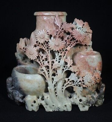 Vintage Antique Chinese Carved Triple Soapstone Vase with Daisies & Leaves