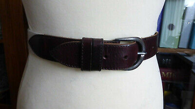 Vintage 80s brown leather cream canvas belt 8 10 12 VGC classic