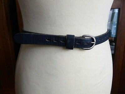 Vintage 70s skinny navy blue leather waist belt VGC 6 8 10 smart casual cut out