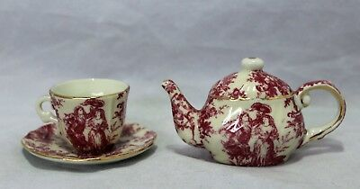 Miniature Decorative Cup & Saucer & Teapot - Red Victorian Pattern