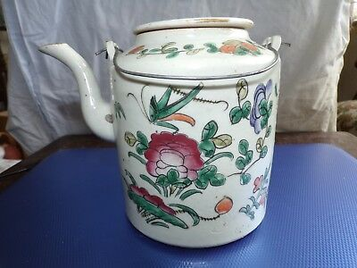 Antique ,chinese Porcelain 19Th Century Famille Rose Tea Pot Insect And Flowers.