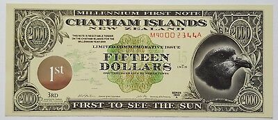 CHATHAM ISLANDS-15 DOLLARS-1999-1st ISSUE-OLD HOLOGRAM-POLYMER, UNC .