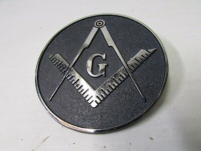 Master Mason Bolt-On Cast Iron Emblem - Silver w/Dark Blue Background ~ MPLS