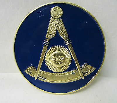 Masonic Past Master Car Metal Emblem - Gold Emblem w/Dark Blue Background