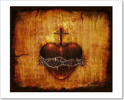 Sacred Heart On Parchment Art Print Home Decor Wall Art Poster - D
