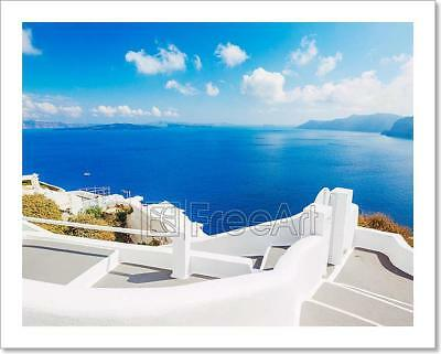 Santorini Island, Greece Art Print Home Decor Wall Art Poster - D