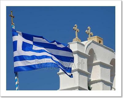 Greek Island Church With Flag And Art Print Home Decor Wall Art Poster - D
