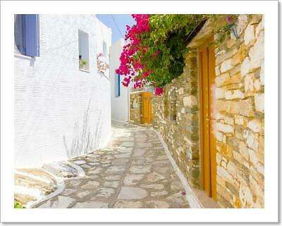 Traditional Street In Tinos Art Print Home Decor Wall Art Poster - D