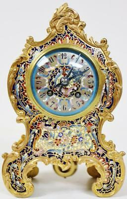 Rare Antique French 8Day Bronze & Intricate Champleve Enamel Rococo Mantel Clock