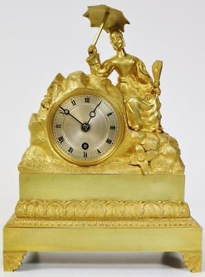 Stunning Antique 8 Day French Empire Bronze & Ormolu Lady Figural Mantle Clock
