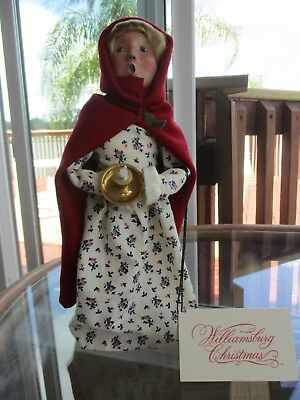 Byers Choice LTD Williamsburg, woman in red cape holding candle, 2000