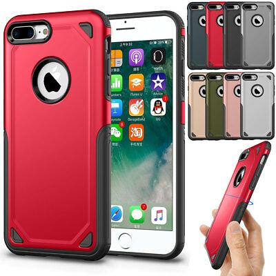 Silicone TPU PC Dual Layer Protection Cover Case for iPhone 8 Plus Men Women