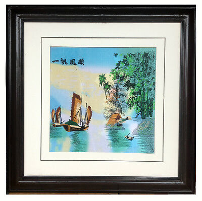 """""""Rafting on the lake"""" Chinese embroidery Painting With framed *UK STOCK*"""