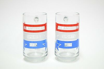 Avon 1983 Set of 2 Mug Glass All American Sports Patriotic Red White Blue Vtg
