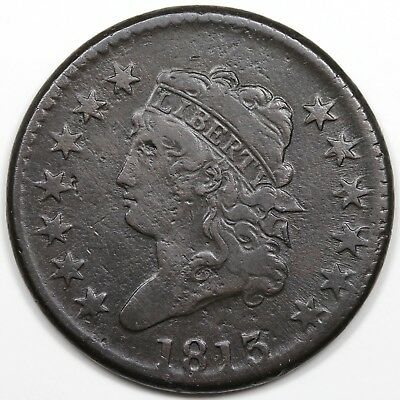 1813 Classic Head Large Cent, F-VF detail