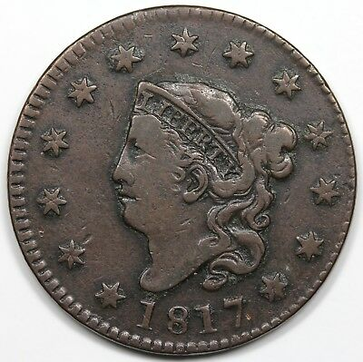 1817 Coronet Head Large Cent, F-VF detail