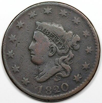 1820/19 Coronet Head Large Cent, large overdate, VG detail