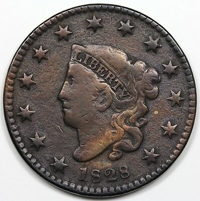 1828 Coronet Head Large Cent, Small Wide Date, F+ detail