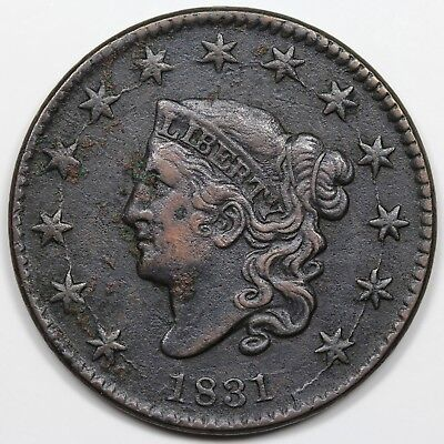 1831 Coronet Head Large Cent, Large Letters, XF detail