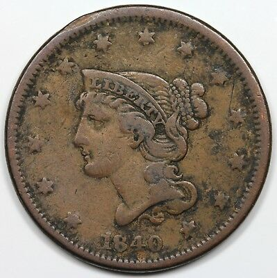 1840/18 Braided Hair Large Cent, Small over Large Date, F