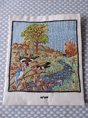 Vintage Hand Embroidered Picture- Stunning English Countryside- Art Deco Design