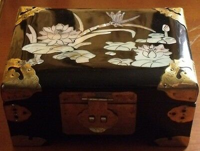 Vintage Chinese Lacquered Mother Of Pearl Lily Pad + Dragonfly Jewellery Box