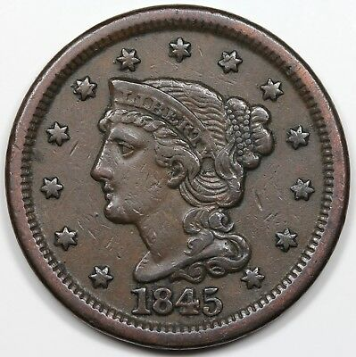 1845 Braided Hair Large Cent, XF