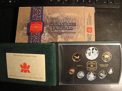 2002 Royal Canadian Mint Canada Golden Jubilee Silver Proof Set 8 Coins